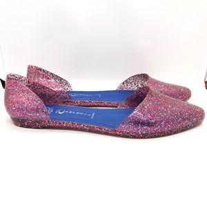 Jeffrey Campbell Pink Glitter Jelly D'Orsay Flats